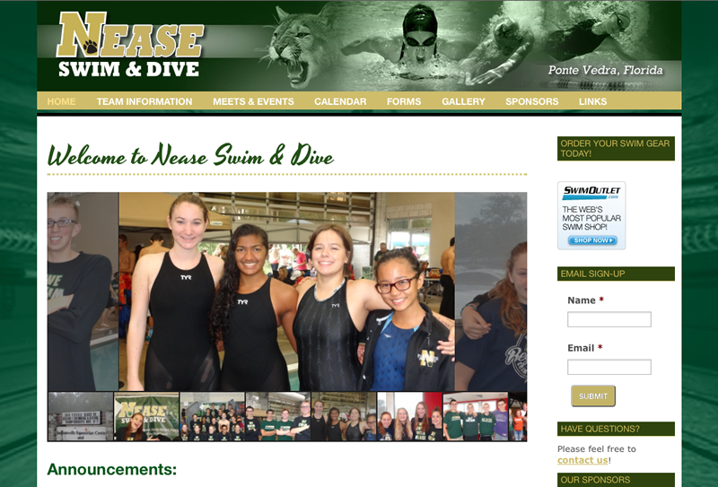 Nease Swim and Dive Website